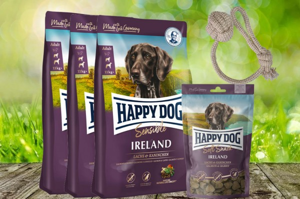 Happy Dog Supreme Ireland 3 x 4 kg + 1 x 100 g. Happy Dog Soft Snack Ireland + Hundewurfball geschen