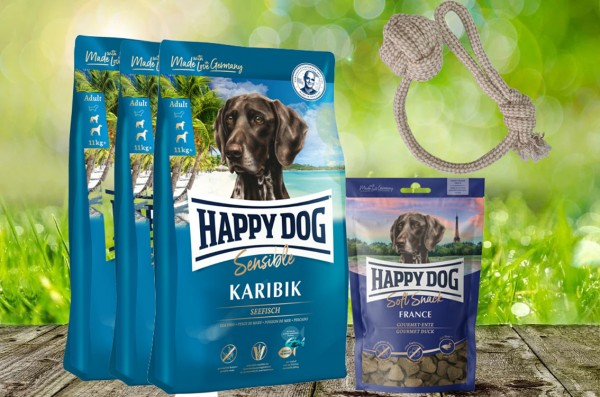 Happy Dog Supreme Karibik 3 x 4 kg + 1 x 100 g. Soft Snack France + Hundewurfball geschenkt