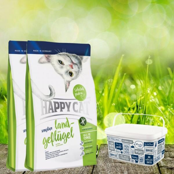 Happy Cat Sensitive Glutenfrei Land Geflügel 2 x 4 Kg + Happy Cat-Dog Futtereimer 6,2 Liter