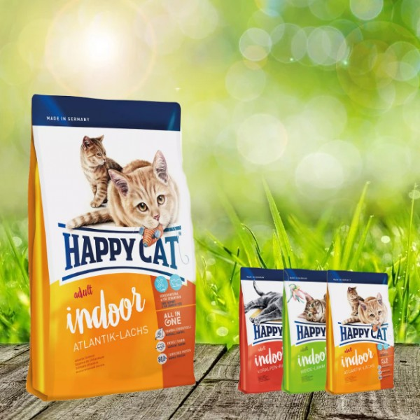 Happy Cat INDOOR Atlantik Lachs 10 kg + 3 x 300 gr. Probierbox sortiert