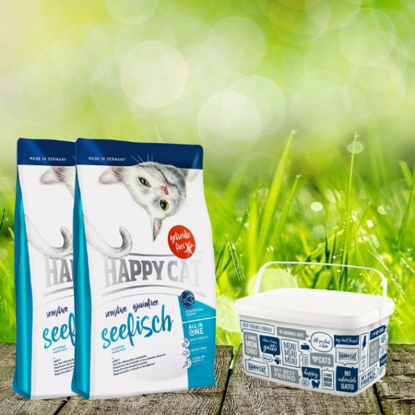 Happy Cat Sensitive Grainfree Seefisch 2 x 4 Kg + Happy Cat-Dog Futtereimer 6,2 Liter