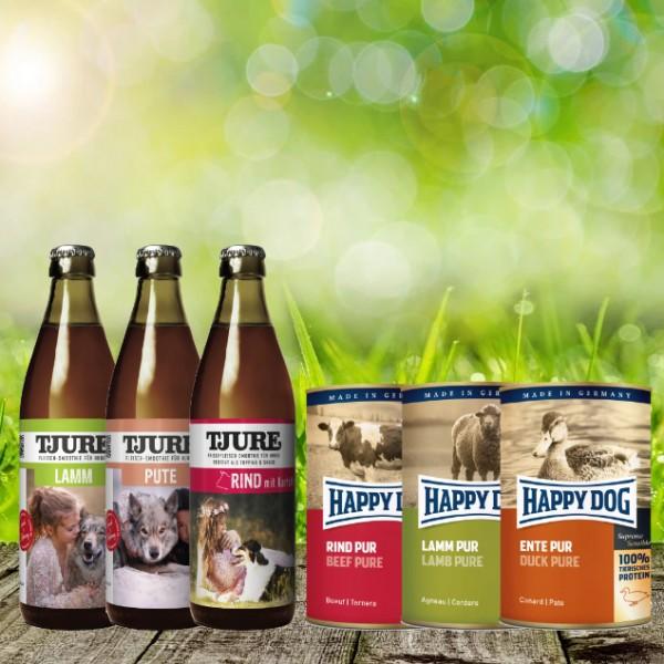 Tjure/Happy Dog Pur Bundle - 3 x 0,32 l Tjure + 3 x 400 g Happy Dog Dose Pur