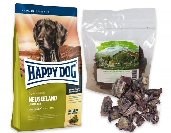 Feinkost Kalbslungenwürfel 3x100 gr. + Happy Dog Sens. Supreme Neuseeland 2 x 12,5 kg