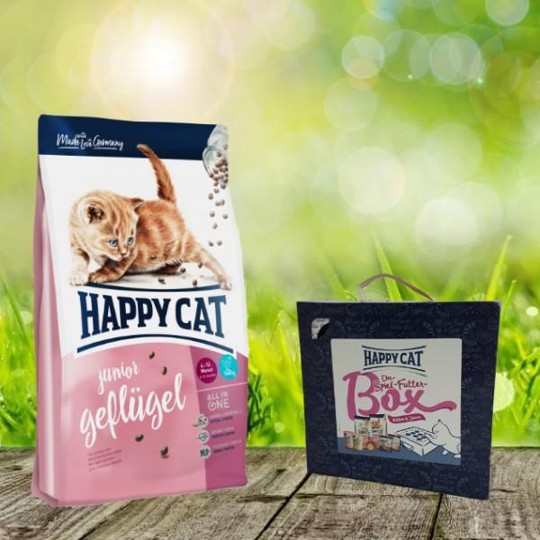Happy Cat Junior Geflügel 4 kg + Spiel-Futter-Box Kitten & Junior