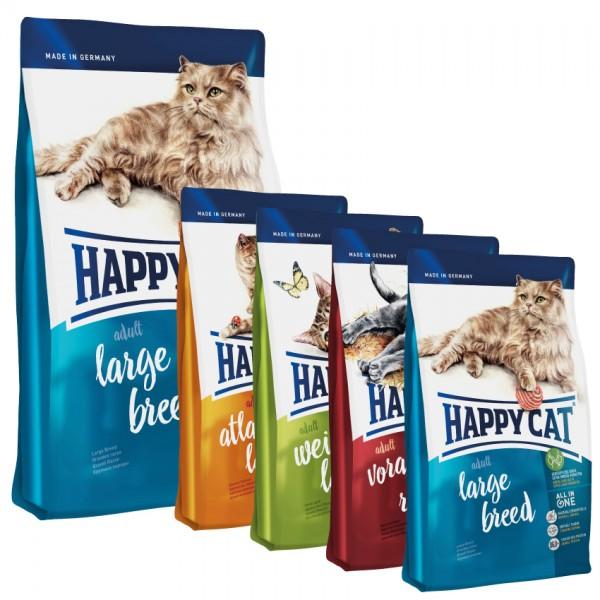 Happy Cat Adult Large Breed 10 kg + 4 x 300gr. Probierbox sortiert