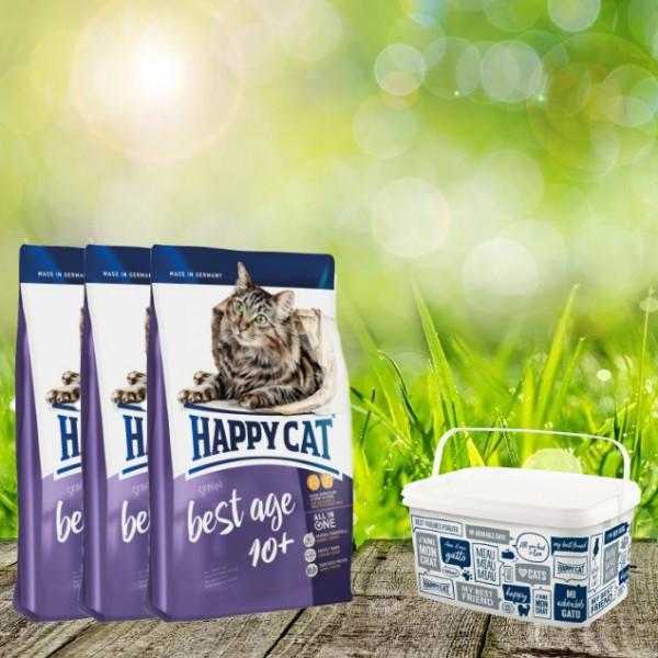 Happy Cat Supreme Adult Best Age 10+ 3 x 4 kg + Happy Cat / Dog Futtereimer 6,2 Liter