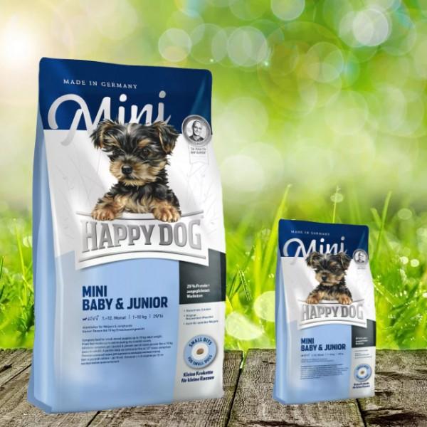 Happy Dog Supreme Mini Baby und Junior 4 kg + 1 kg *Gratis*