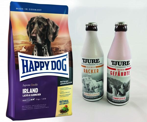 Happy Dog Supreme Irland 12,5 kg + TJURE für Hunde - Doppelpack Treuer Gefährte & Kleiner Racker 2-
