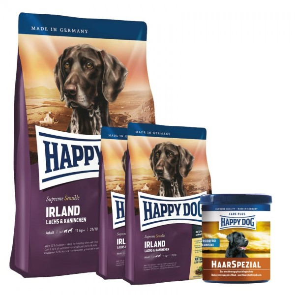 Happy Dog Supreme Sensible Irland 1 x 14,5 kg + Happy Dog Haar Spezial 1 kg (in Pelletsform)