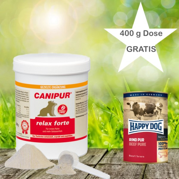 Canipur relax forte 150 g + 400g Happy Dog Pur Dose *Gratis*