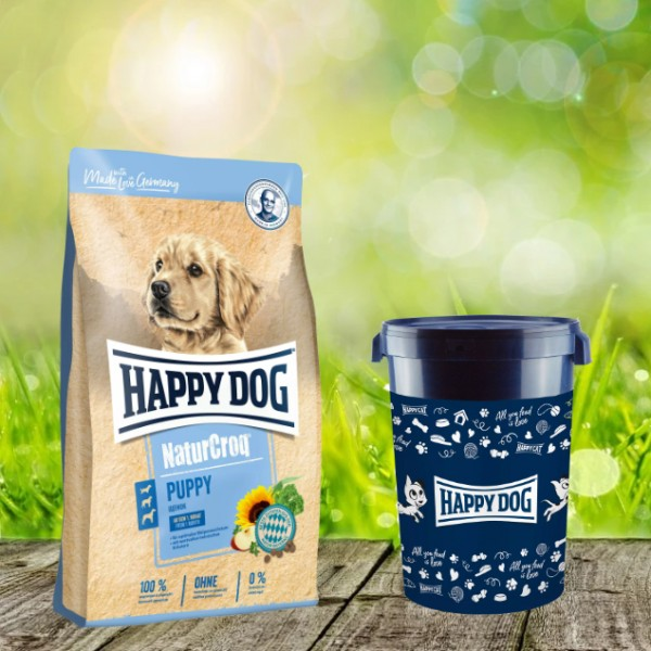 Happy Dog Premium NaturCroq Puppy 15 kg inkl. Happy Dog Futtertonne 43 Liter