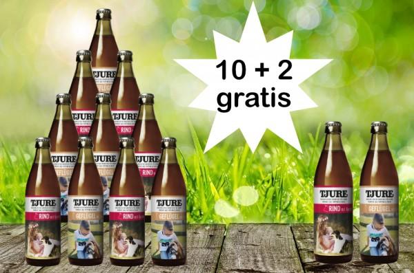 TJURE für Hunde - Mixpaket Rind & Kartoffel + Geflügel & Kartoffel 10 + 2 GRATIS