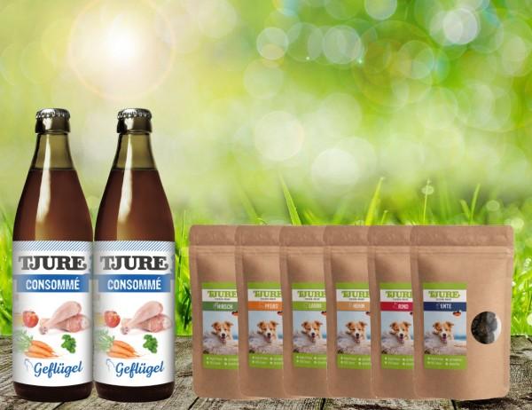Tjure Consommé Geflügel für Katzen Doppelpack Aktion Plus Fleisch Snack 6 x 150 Gramm Sortiert