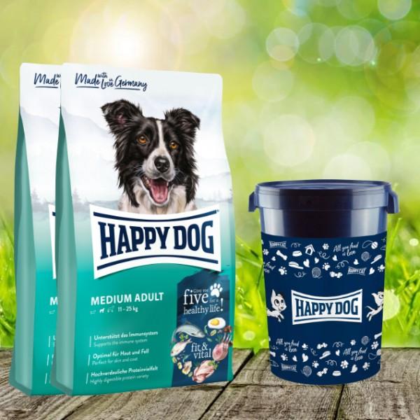 Happy Dog Fit & Vital Medium Adult 2 x 12 kg plus Futtertonne 43 Liter