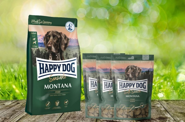 Happy Dog Supreme Montana 10 kg + 3 x 100 g. Happy Dog Soft Snack Montana geschenkt