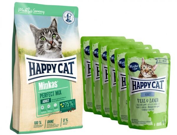 Aktion * Happy Cat Minkas Perfect Mix Geflügel, Fisch & Lamm 10 kg und 6 x 85 gr. All Meat Pouches K