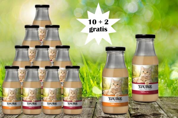 TJURE für Katze - Mixpaket Rind & Kartoffel + Pute & Reis 10 + 2 GRATIS