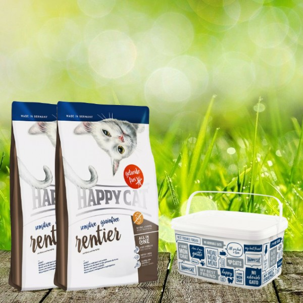 Happy Cat Sensitive Grainfree in verschiedenen Sorten 2 x 4 Kg + Happy Cat-Dog Futtereimer 6,2 Liter
