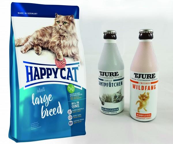 Happy Cat Adult Large Breed 10 kg + TJURE für Katzen - Doppelpack Zartes Samtpfötchen & Frecher Wild