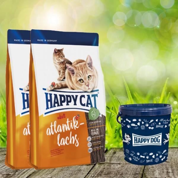 Happy Cat Supreme Adult Atlantik Lachs 2 x 10 kg + Happy Cat Futtertonne 20 Liter