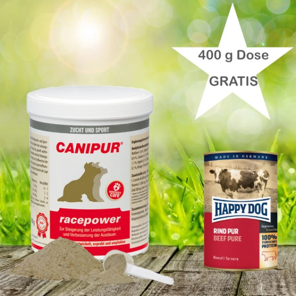Canipur racepower 500 g + 400g Happy Dog Pur Dose *Gratis*