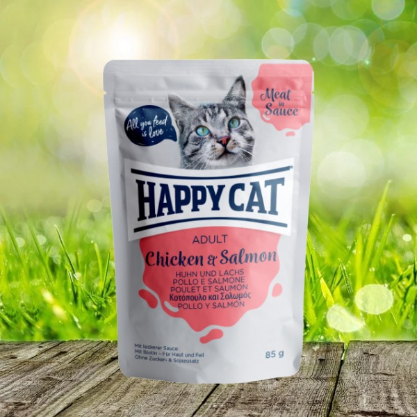 Happy Cat Pouches - Meat in Sauce - Pouch Adult Huhn & Lachs 24 x 85 gr.