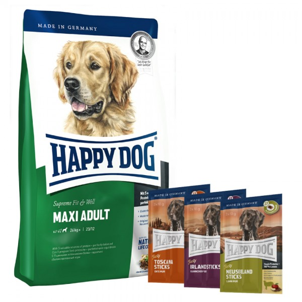 Happy Dog Fit & Well Maxi Adult 1 kg + Tasty Snack *Aktion*