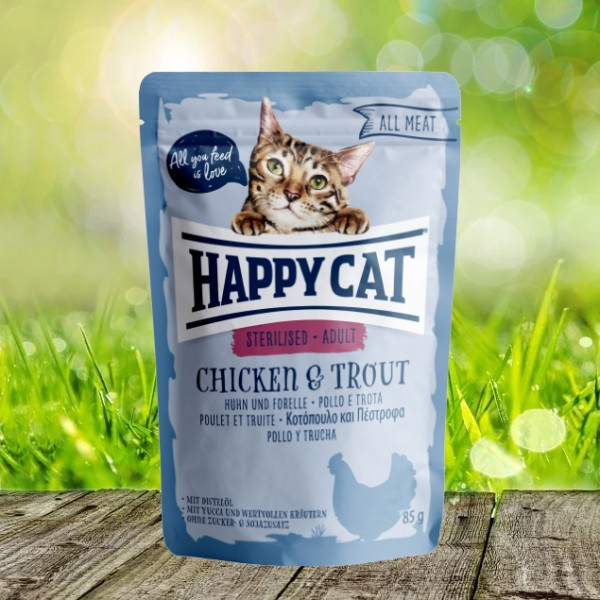 Happy Cat Pouches - All Meat - Pouch Adult Sterilised Huhn & Forelle 24 x 85 gr.