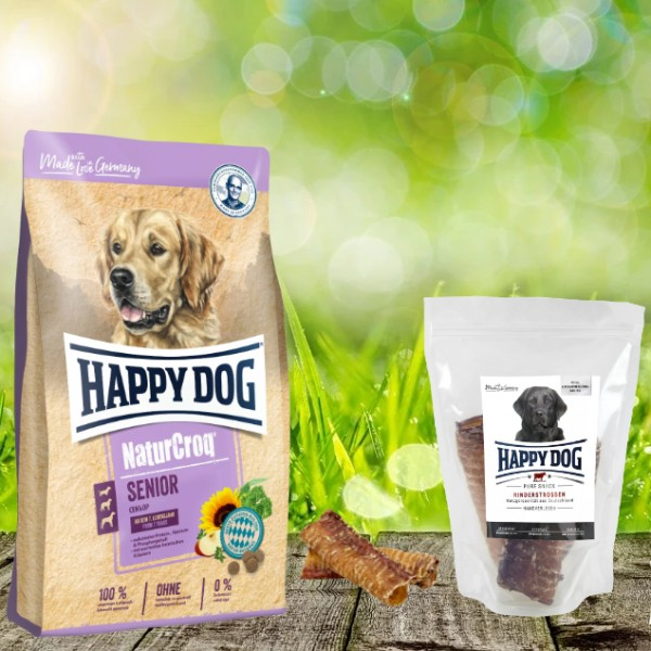 Happy Dog Premium NaturCroq Senior 15 kg + HD Rinderstrossen 500 g