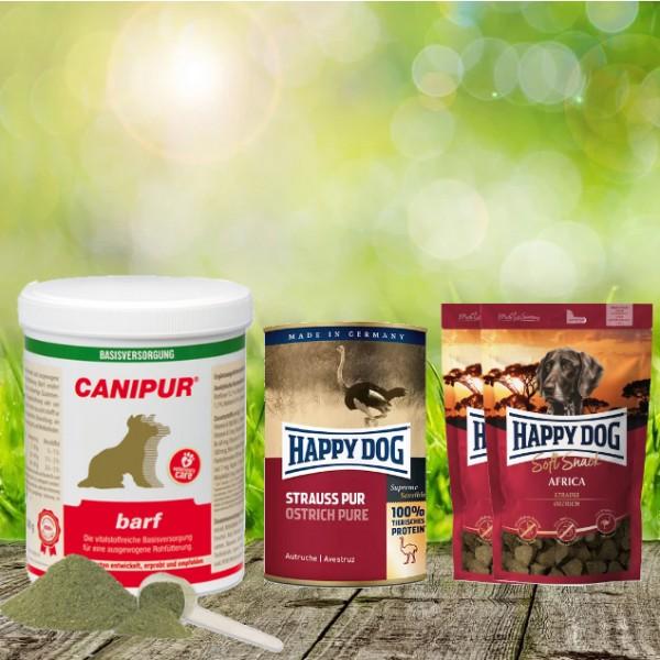 Canipur barf 1000 g + 2 HD Soft Snack Afrika + 1 HD Strauß pur 400 g