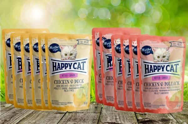 Happy Cat Variation Nassfutter Pouches für JUNIOR / Kitten- All Meat ohne Sauce nur Fleisch 48 x 85