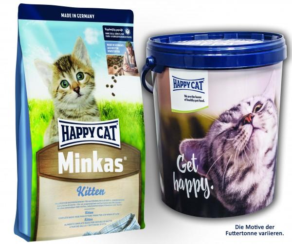 Happy Cat Medium Minkas Kitten 2 x 10 kg + Happy Cat Futtertonne 20 Liter