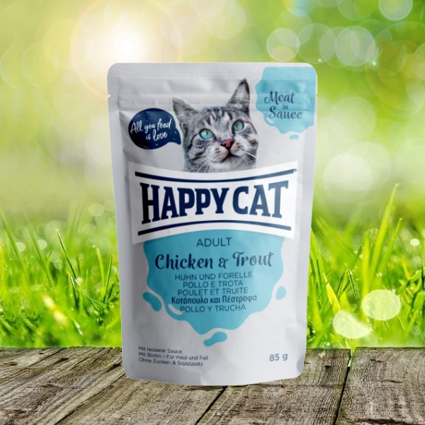 Happy Cat Pouches - Meat in Sauce - Pouch Adult Huhn & Forelle 24 x 85 gr.