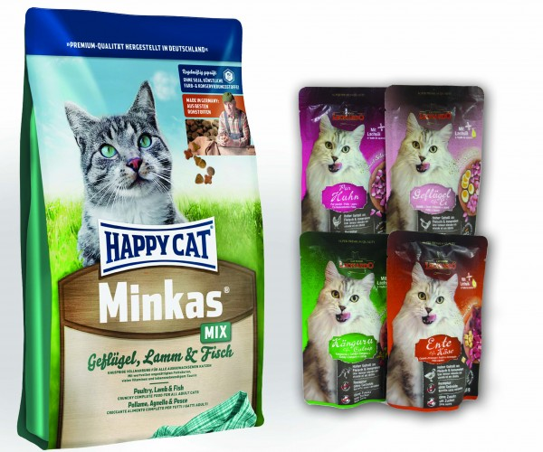 Happy Cat Minkas Mix Geflügel, Lamm und Fisch 10 kg + 4 x 85 gr. Leonardo Nassfutter sortiert im Fri