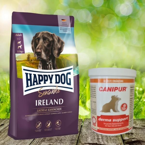 Canipur Derma Support 1000 g + Happy Dog Sensible Irland 12,5 kg - Ihr Rundum-sorglos-Paket