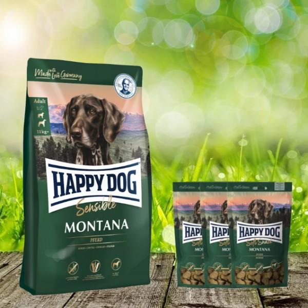 Happy Dog Supreme Montana 10 kg + 3 x 100 g. Happy Dog Soft Snack Montana geschenkt