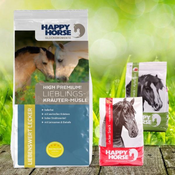 "Happy Horse High Premium ""Lieblings Kräuter Müsli"" 14 kg + 2 x 1 Kg Happy Horse Lecker Snack"