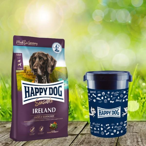 Happy Dog Supreme Sensible Ireland inkl. Happy Dog Futtertonne 43 Liter