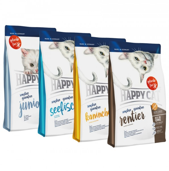 Happy Cat Sensitive Grainfree in verschiedenen Sorten 3 x 4 Kg + Happy Cat Vorratdose