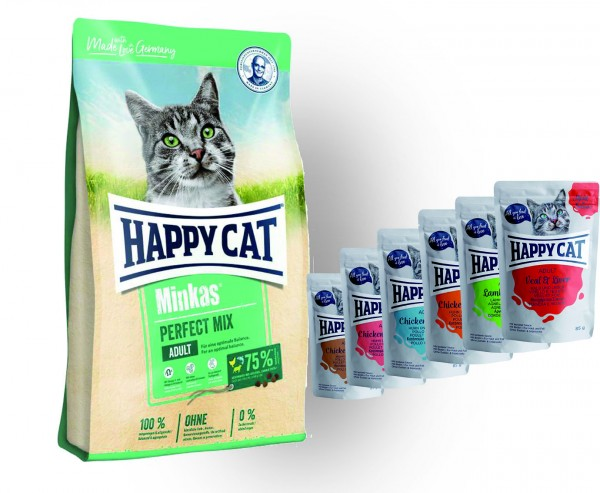 Happy Cat Minkas Perfect Mix Geflügel, Fisch & Lamm 10 kg und 6 x 85 gr. Pouches Happy Cat Meat in S