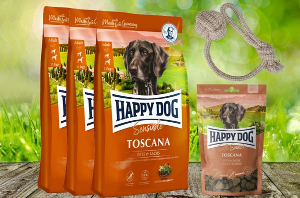Happy Dog Supreme Toscana 3 x 4 kg + 1 x 100 g. Happy Dog Soft Snack Toscana + Hundewurfball geschen