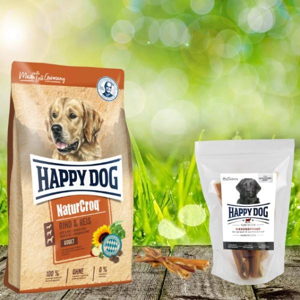 Happy Dog Premium NaturCroq Rind und Reis 15 kg + HD Rinderkopfhaut 500 g