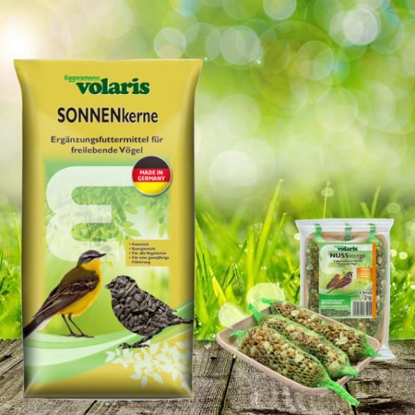 Volaris Sonnenblumenkerne 15 kg + Volaris Nuss Stangen 3 Stück