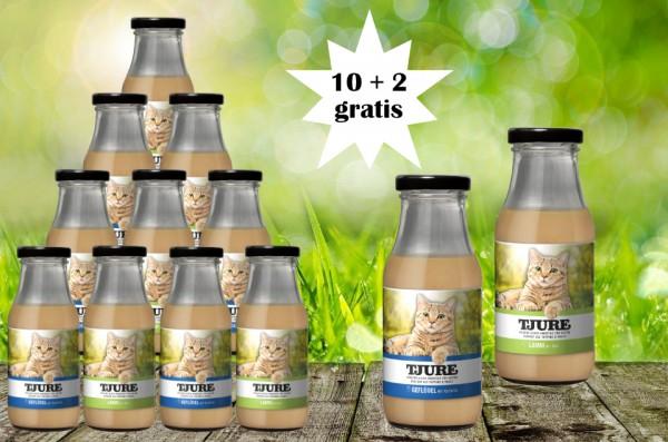 TJURE für Katze - Mixpaket Lamm & Reis + Geflügel & Kartoffel 10 + 2 GRATIS