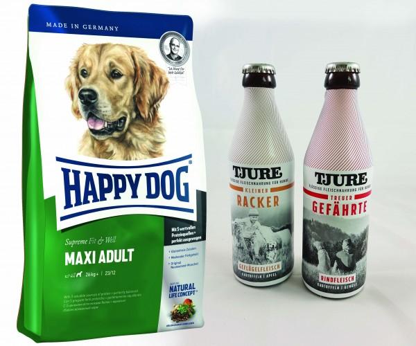 Happy Dog Fit & Well Maxi Adult 15 kg + TJURE für Hunde - Doppelpack Treuer Gefährte & Kleiner Racke