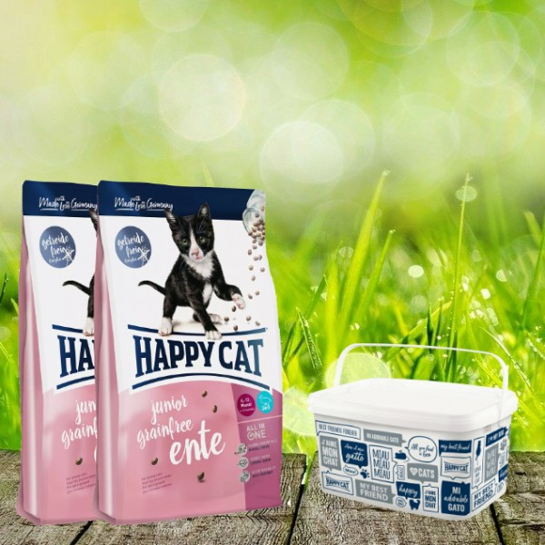 Happy Cat Sensitive Grainfree Ente Junior 2 x 4 Kg + Happy Cat-Dog Futtereimer 6,2 Liter
