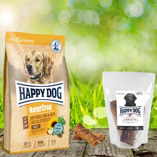 Happy Dog Premium NaturCroq Geflügel Pur und Reis 15 kg + HD Rinderstrossen 500 g