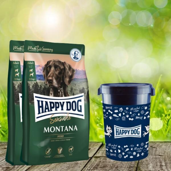Happy Dog Supreme Sensible Montana 2 x 10 kg inkl. Happy Dog Futtertonne 43 Liter