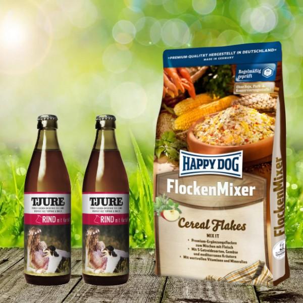 Happy Dog Flocken Mixer 10 kg + 2 x 0,32 l Tjure Rind&Kartoffel
