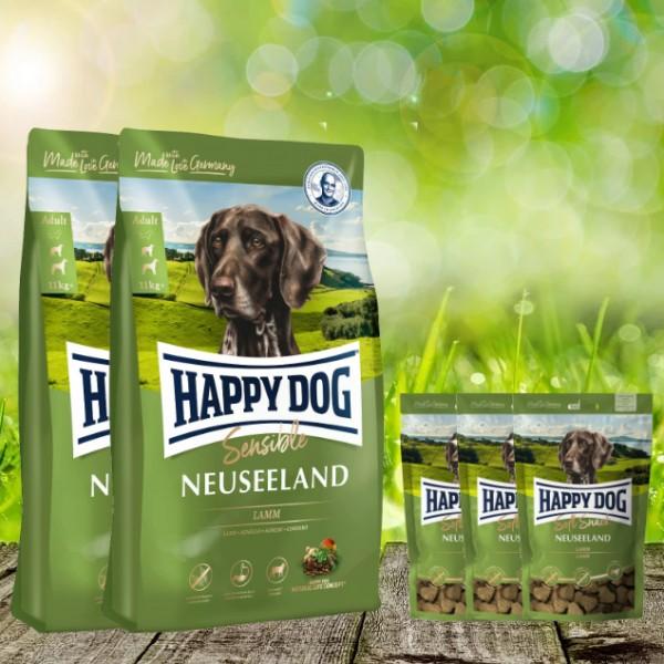25 kg Happy Dog Supreme Neuseeland 2 x 12,5 kg + 3 x 100 g. Happy Dog Soft Snack Neuseeland geschenk